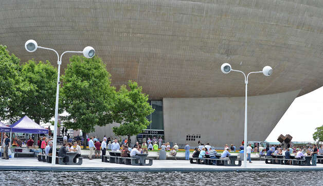 A lunch-time crowd under the Egg on the Empire State Plaza Wednesday July 15, 2015 in Albany, NY.  (John Carl D'Annibale / Times Union) Photo: John Carl D'Annibale, Albany Times Union