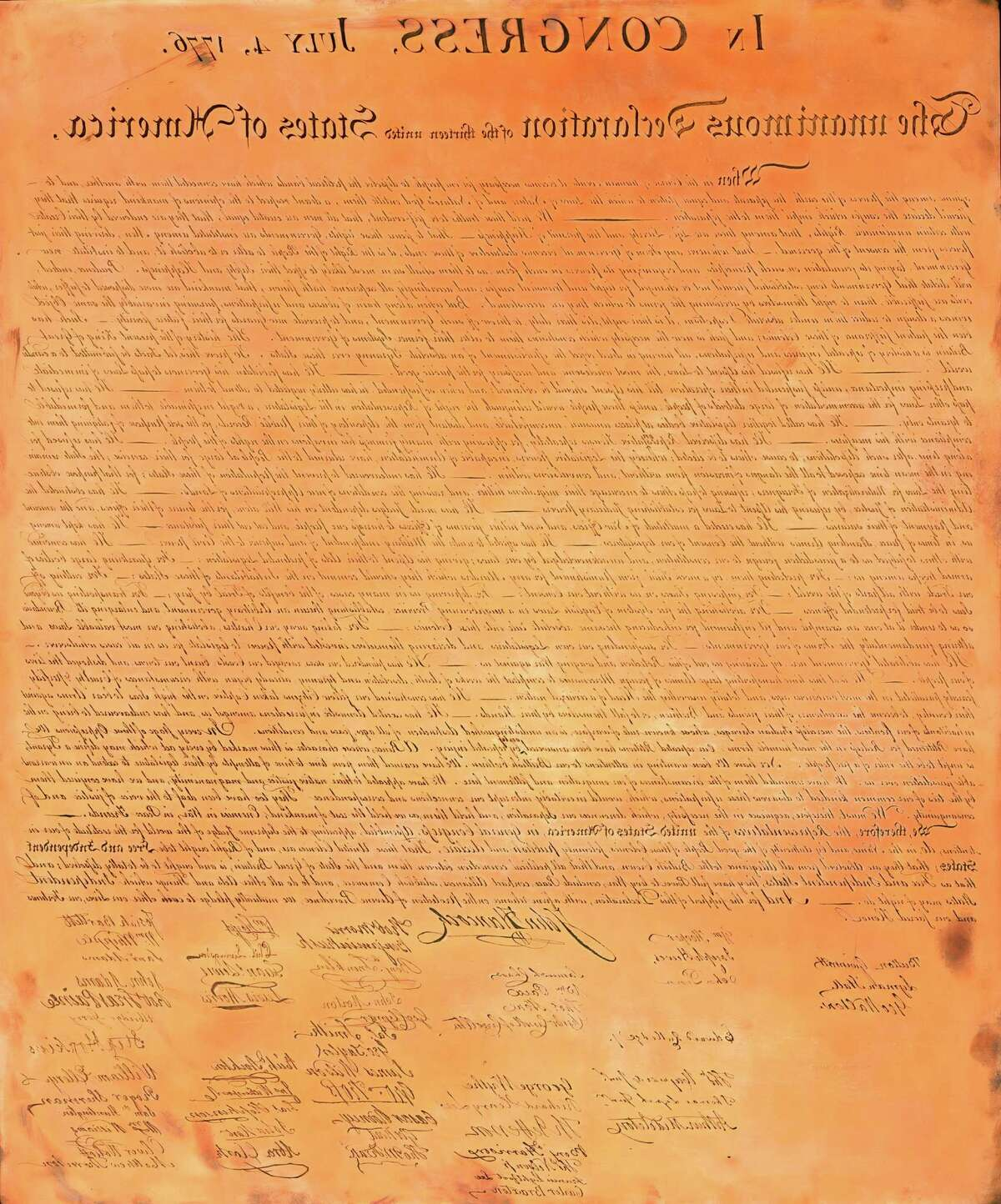 The Declaration of Independence on a copper plate facsimile carved by William Stone, in an undated handout image. The original Declaration has faded to near-illegibility, but Stone's engraved facsimile has been reproduced. (National Archives and Records Administration via The New York Times) -- EDITORIAL USE ONLY