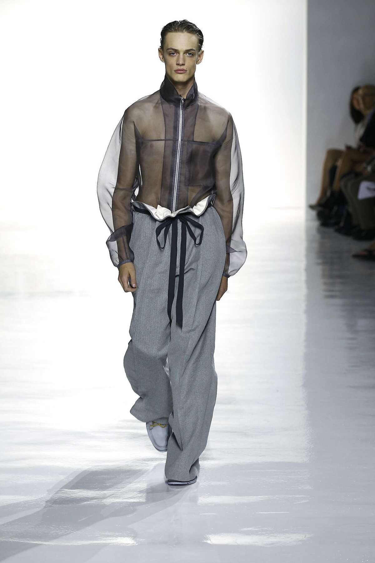 The looks at Duckie Brown, presented July 14 at New York Fashion Week: Mens, played with volume and cinched waist looks.