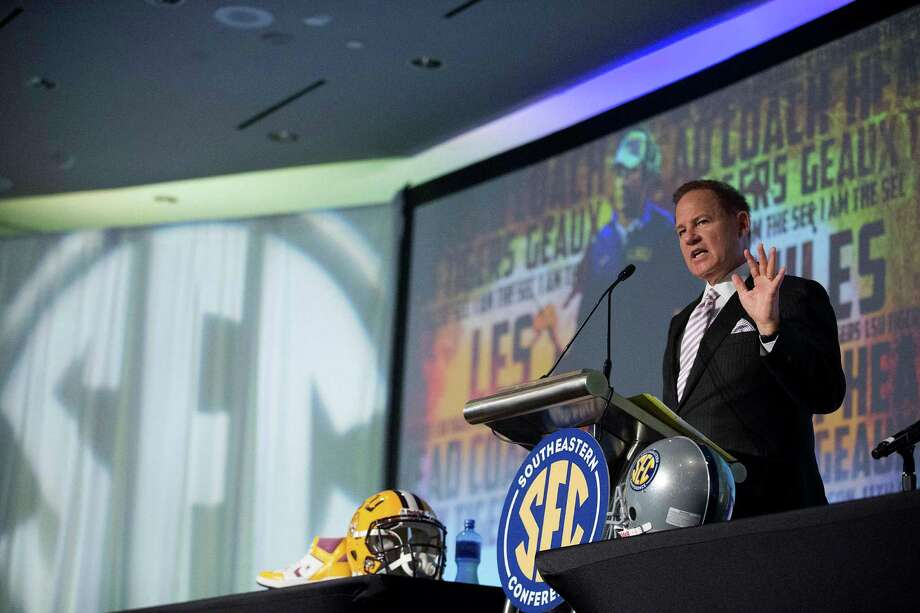 LSU coach Les Miles speaks to the media at the Southeastern Conference NCAA college football media days, Thursday, July 16, 2015, in Hoover, Ala. (AP Photo/Brynn Anderson) Photo: Brynn Anderson, STF / Associated Press / AP