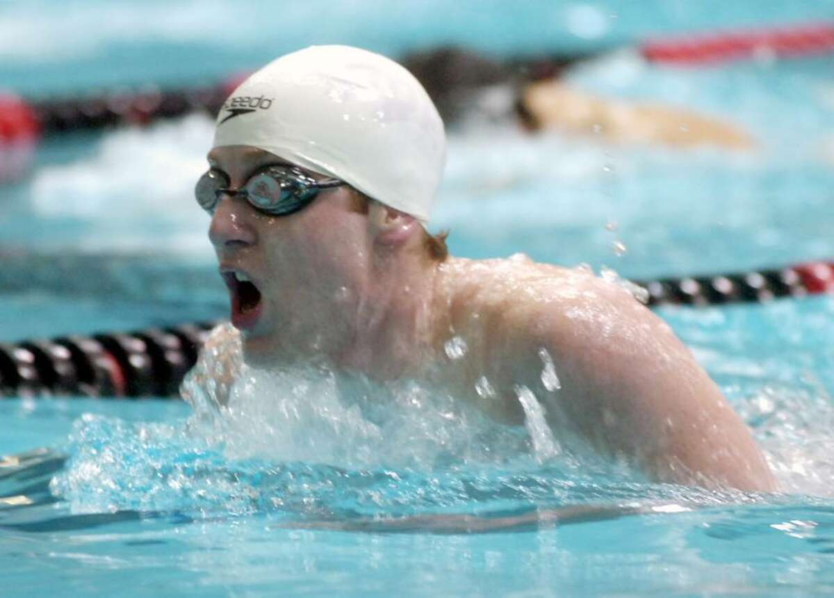 Fairfield Prep's Ryan Cahalane swims the 200 IM during the CIAC Boys Class LL Swimming Championships at Wesleyan University in Middletown, CT Wednesday afternoon, March 17, 2010. Greenwich won with 664 points.