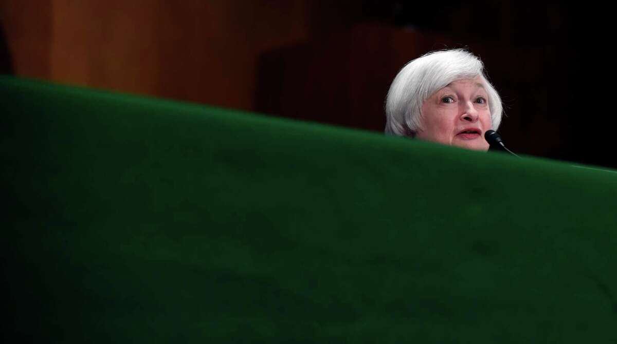 Federal Reserve Chair Janet Yellen testifies on Capitol Hill in Washington, Thursday, July 16, 2015, before the Senate Committee. Yellen told the committee that when the Fed begins to raise interest rates, it wants to make sure that it doesn't derail further gains in U.S. jobs and incomes. (AP Photo/Susan Walsh) ORG XMIT: DCSW136