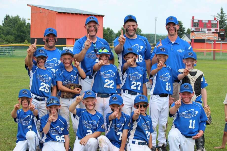 The North Colonie 8u Blue Bison 2015 Eastern New York Cal Ripken 8-and-under State Champions are: (Bottom row, from left) Lorenzo Lanni, Nathan Maron, Frank Conroy, Alex Polsinello, Brian Warncke and Jordan Townsend; (middle) Ben Belliss, Ethan McGarry, Joey Shanahan, Tommy Case, Tye Mariano, and Brendan McLoughlin; (top) Jayson Townsend (assistant coach), Kevin McGarry (manager), Pat McLoughlin (assistant coach) and Rick Belliss (scorekeeper).