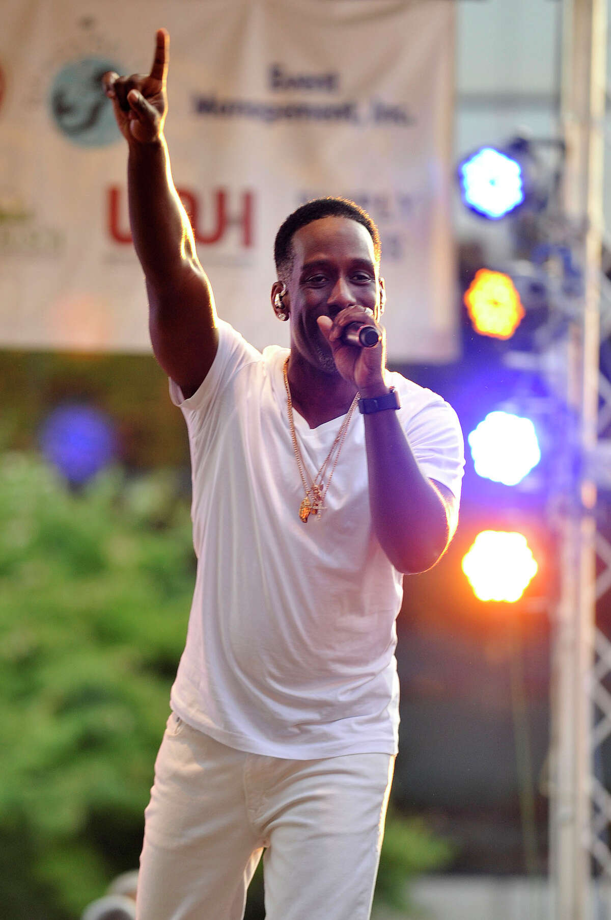 Shawn Stockman of Boyz II Men performs during the Alive@Five concert series at Columbus Park in Stamford, Conn., on Thursday, July 16, 2015. Concerts begin at 5 p.m. and run through Thursday, August 13. The headlining act for next week is Guster. Hearst Connecticut Media is a sponsor of the event.