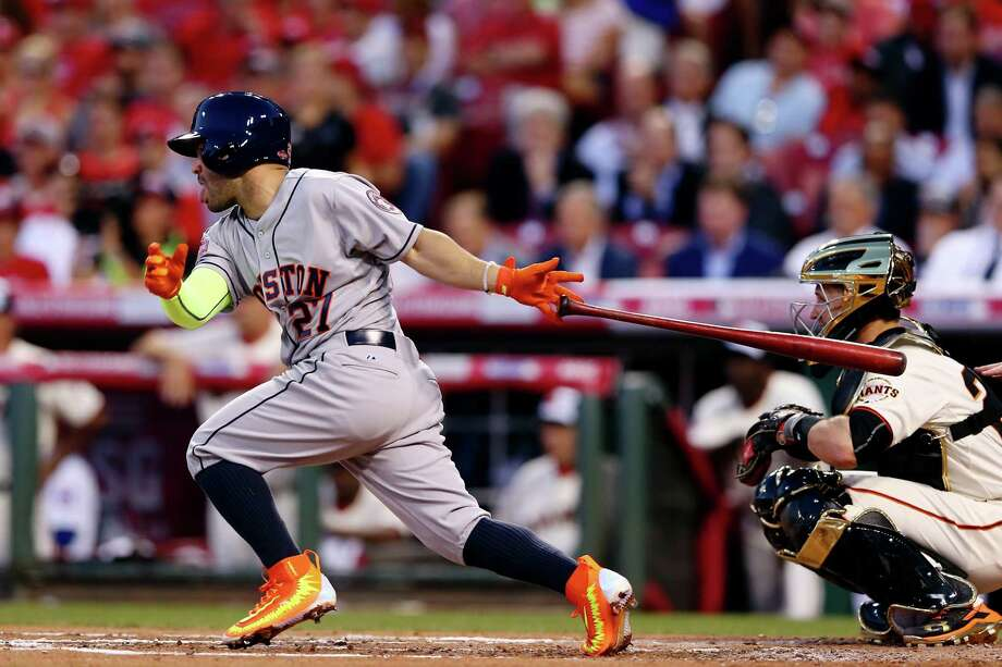 CINCINNATI, OH - JULY 14:  American League All-Star Jose Altuve #27 of the Houston Astros bats in the second inning against National League All-Star Zack Greinke #21 of the Los Angeles Dodgers during the 86th MLB All-Star Game at the Great American Ball Park on July 14, 2015 in Cincinnati, Ohio.  (Photo by Elsa/Getty Images) ORG XMIT: 554358343 Photo: Elsa / 2015 Getty Images