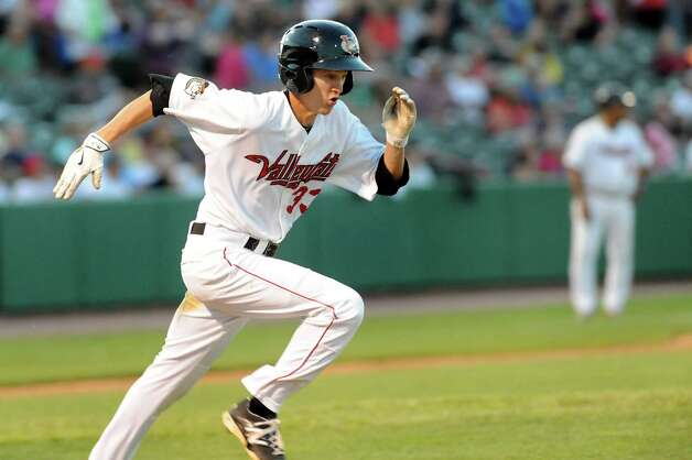 ValleyCats Johnny Sewald runs to first during their baseball game against the Lake Monsters on Thursday, July 16, 2015, at Joe Bruno Stadium in Troy, N.Y. (Cindy Schultz / Times Union) Photo: Cindy Schultz / 00032628A