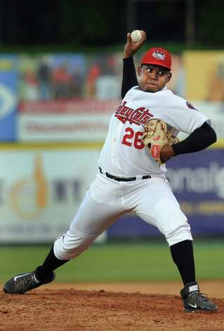ValleyCats Rogelio Armenteros winds up a pitch during their baseball game against the Lake Monsters on Thursday, July 16, 2015, at Joe Bruno Stadium in Troy, N.Y. (Cindy Schultz / Times Union) Photo: Cindy Schultz / 00032628A