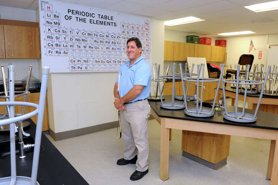 John Barbarotta stands in a chemistry classroom at Trumbull High School, in Trumbull, Conn., June 25th, 2013. Barbarotta represents AFB Management, the construction firm which oversaw the school's renovation. Photo: Ned Gerard / Ned Gerard / Connecticut Post