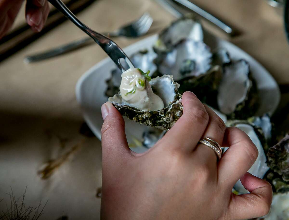 An Oyster about to be consumed at Ichi Kakiya in San Francisco, Calif., is seen on July 16th, 2015.