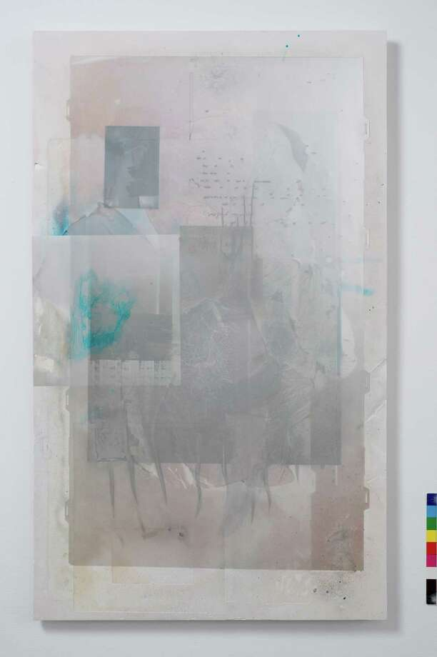 Josh Tonsfeldt   Untitled, 2015  Pigment inks, prism film, pigment print on diffusion film, c-print, spray paint, acrylic medium, hydrocal  27.5 x 41.5 x 2.5 inches (70 x 105.4 x 6.4 cm)  Courtesy of the artist and Simon Preston Gallery, New York