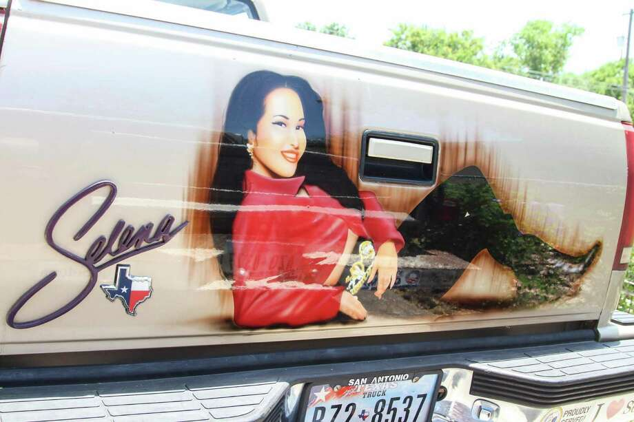 The Selena pickup has been seen across town. Each side of the pickup has artwork of the Tejano singer honoring her memory. Photo: Tyler White/SAEN