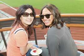 """Jen Najera and Debbie Loughren at the Francis Ford Coppola Winery's """"Diamond on the Diamond"""" event at AT&T Park on July 10, 2015."""