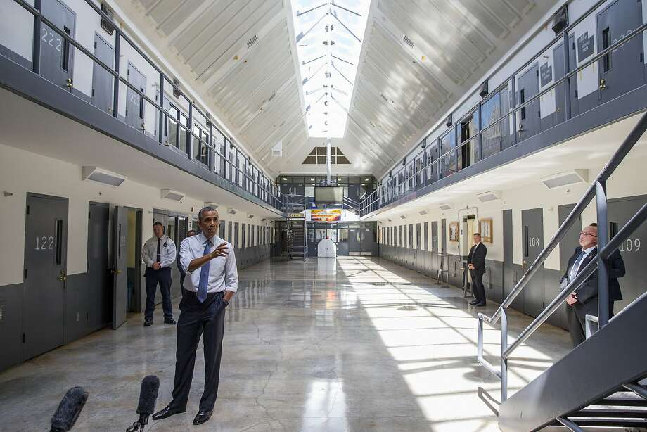 President Obama speaks at the El Reno Federal Correctional Institution in El Reno, Okla., Thursday as part of his focus on the criminal justice system. Photo: Evan Vucci, Associated Press