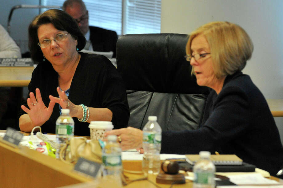 Republican school board Vice President Lorraine Olson, left, will not run for re-election in November. City Republicans and Democrats are scheduled to announce their slate of candidates for five open seats this week. Photo: Jason Rearick / Jason Rearick / Stamford Advocate