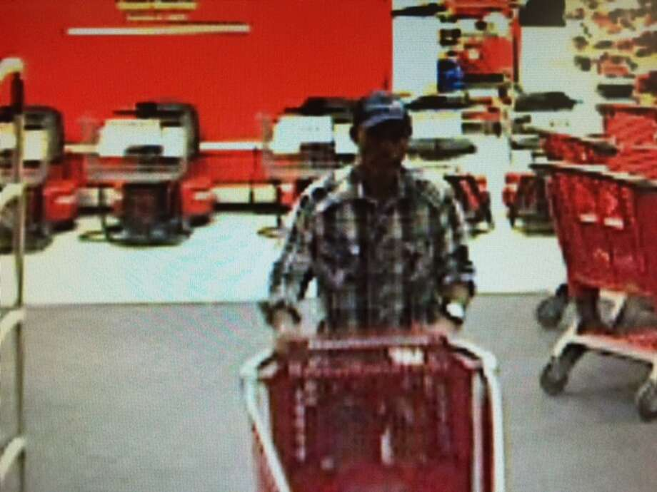 New Braunfels Police says this man walked into the New Braunfels Target store at 135 Creekside Way, and took a Dyson vacuum cleaner valued at $600. Photo: New Braunfels Police Department