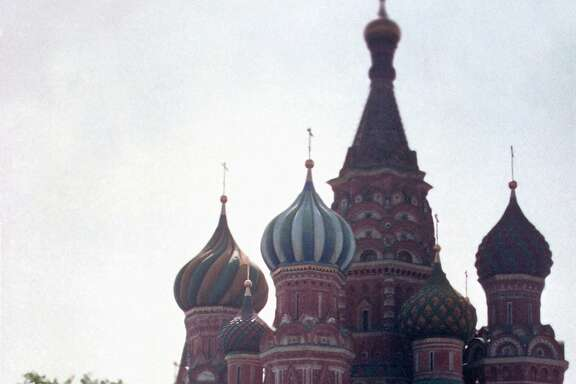 U.S. President Ronald Reagan, left, and Soviet leader Mikhail Gorbachev stand alone during their impromptu walk in Red Square in Moscow, USSR, Tuesday, May 31, 1988.  In the background is St. Basil's Cathedral.  (AP Photo/Ira Schwartz)  Ran on: 09-27-2009 President Ronald Reagan and Soviet leader Mikhail Gorbachev take an impromptu walk in Red Square during Reagan's Moscow visit. Ran on: 09-27-2009 President Ronald Reagan and Soviet leader Mikhail Gorbachev take an impromptu walk in Red Square during Reagan's 1988 Moscow visit.