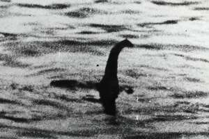A view of the Loch Ness Monster, near Inverness, Scotland, April 19, 1934. The photograph, one of two pictures known as the 'surgeon's photographs,' was allegedly taken by Colonel Robert Kenneth Wilson, though it was later exposed as a hoax by one of the participants, Chris Spurling, who, on his deathbed, revealed that the pictures were staged by himself, Marmaduke and Ian Wetherell, and Wilson.