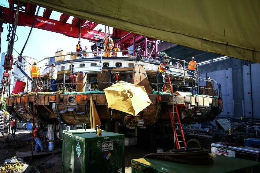 The cutter head of the Highway 99 waterfront tunnel boring machine is shown in Seattle after it was announced that the machine named Bertha will resume digging in November 2015. Photographed on Friday, July 17, 2015.
