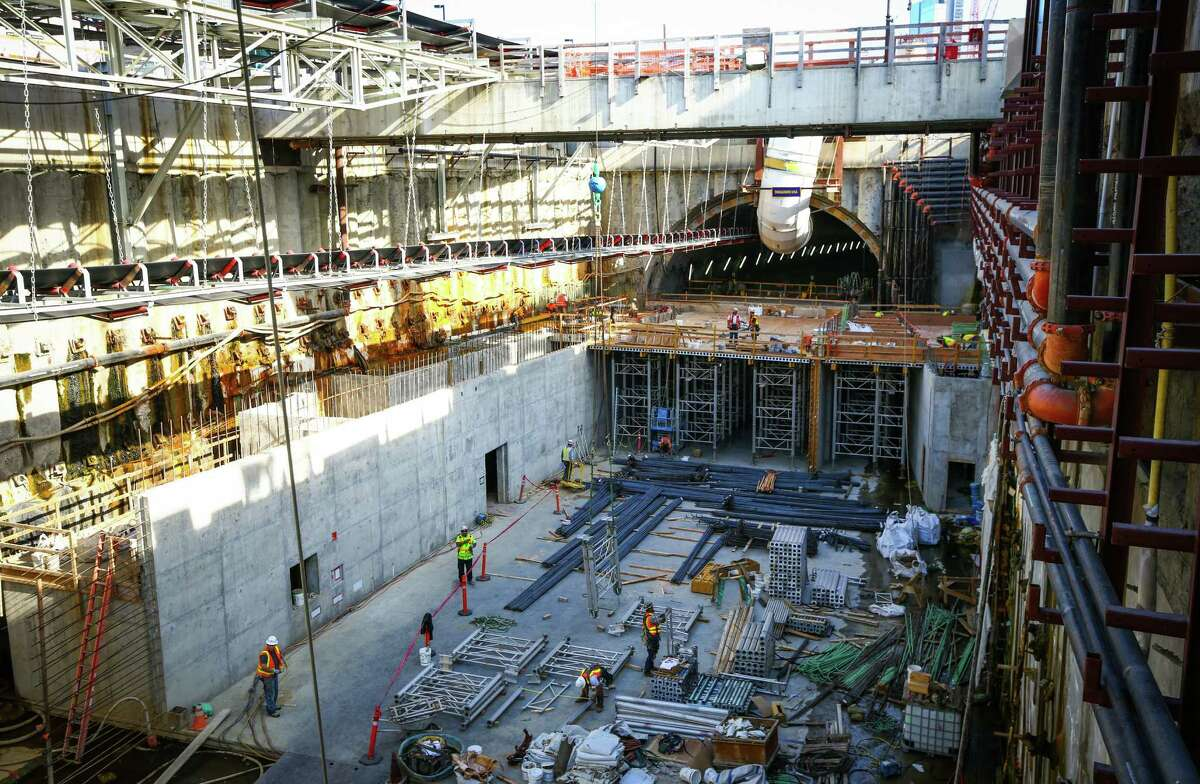 Work progresses on the Highway 99 waterfront tunnel in Seattle after it was announced that the tunnel boring machine Bertha will resume digging in November 2015. Photographed on Friday, July 17, 2015.