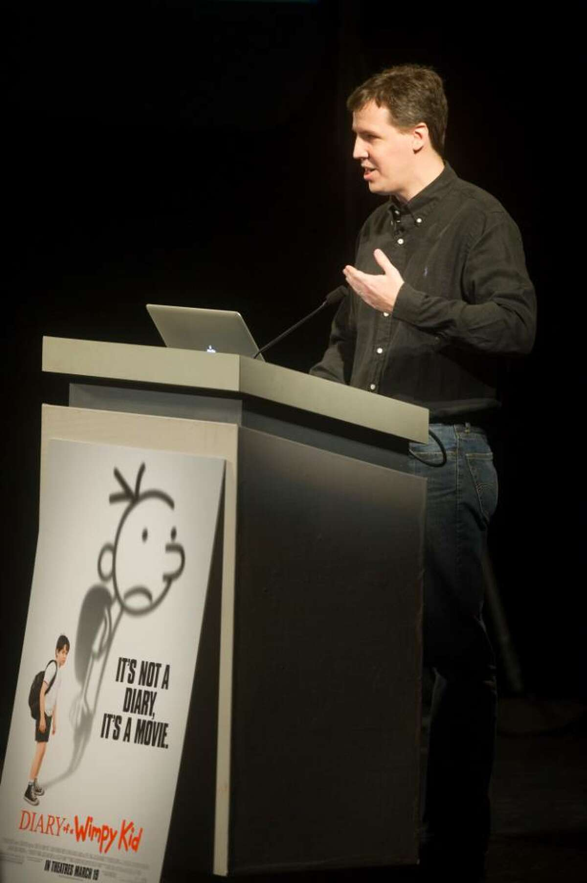 Jeff Kinney, author of the Diary of a Wimpy Kid book series, speaks during an event promoting the premiere of Diary of a Wimpy Kid at the Palace Theater in Stamford, Conn. on Wednesday, March 17, 2010.
