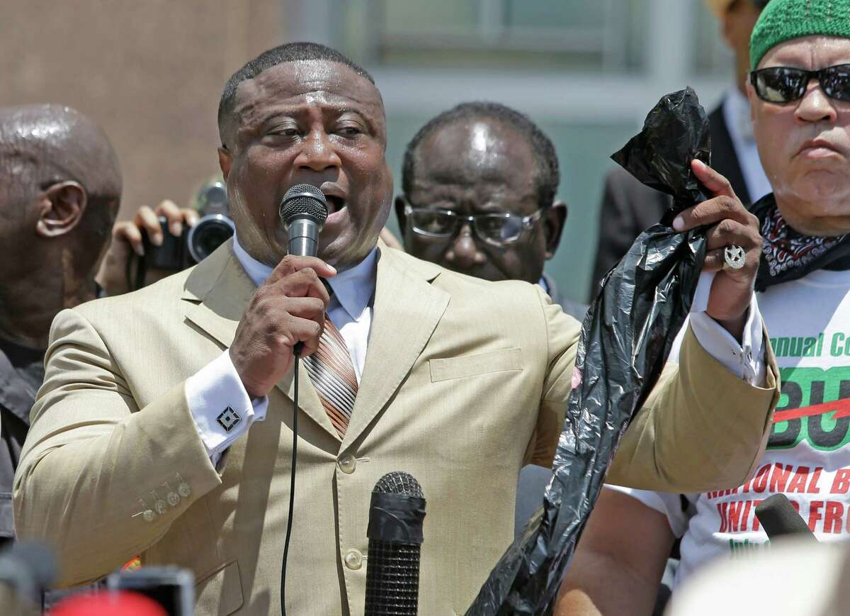 PHOTOS: See some o the past cases Quanell X has been involved with Quanell X holds a plastic trash bag as he speaks to protesters at rally outside the Waller County Courthouse after a march from the Waller County Jail Friday, July 17, 2015, in Hempstead. They are questioning the death of Sandra Bland, who was found hanging in a jail cell by a plastic trash bag on Monday, three days after being arrested during a traffic stop near Prairie View A&M University.