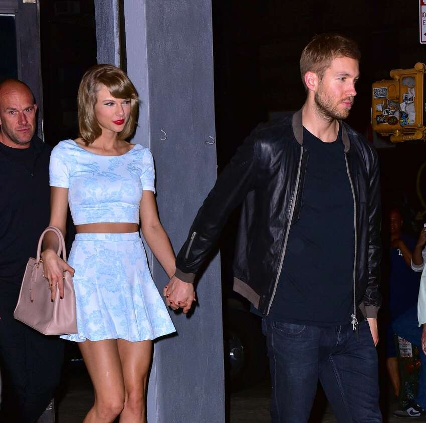 Taylor Swift and Calvin Harris leave L'asso restaurant on May 26, 2015 in New York City. (Photo by James Devaney/GC Images)
