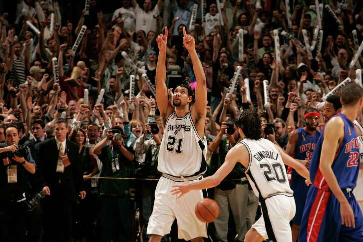 NBA Finals MVP Tim Duncan and Manu Ginobili of the San Antonio Spurs celebrate winning the 2005 NBA championship with a 81-74 win against the Detroit Pistons in Game 7 on June 23, 2005 at SBC Center in San Antonio.