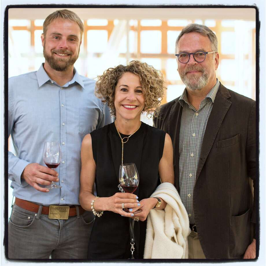 McEvoy Ranch winemaker Blake Yarger (left) with cheese guru and James Beard-winner Laura Werlin and McEvoy Ranch proprietor Nion McEvoy at the Aspen Art Museum. July 2015. By Erik Roush Photo: Erik Roush, Special To The Chronicle