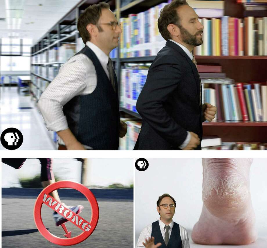 "In the Web series ""You're Doing It Wrong!,"" comedians Jason, above left, and Randy Sklar apply data (and humor) to running. Some key points include avoiding heel strike, bottom left, and being mindful of twigs and other objects if you go barefoot. Photo: HANDOUTS, STR / THE WASHINGTON POST"