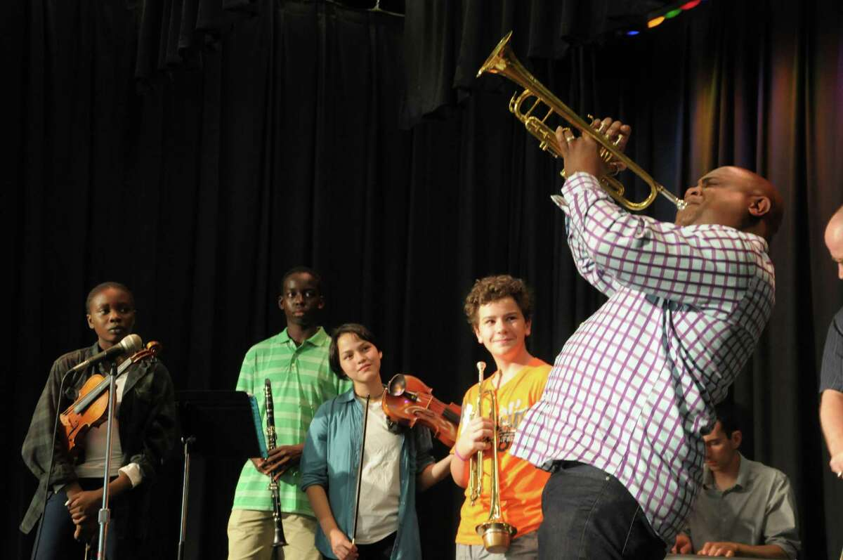 Terell Stafford, a jazz musician and educator, on the trumpet, who was the guest performer and workshop presenter at the BackCountry Jazz Summer Music Camp held at Barnum School in Bridgeport, Conn. on Friday, July 17, 2015.