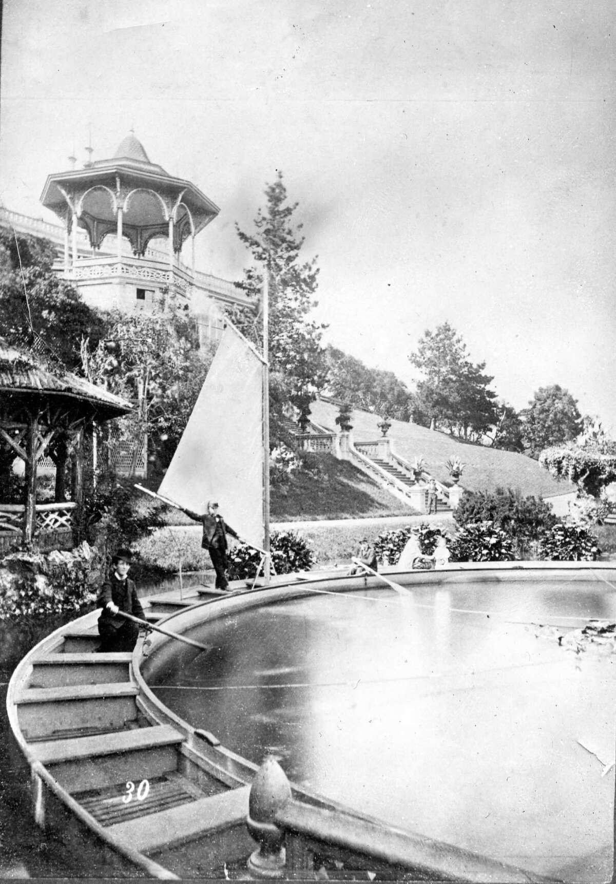 Late 1800s: A water ride at Woodward's Gardens, a San Francisco amusement park in the Mission District.