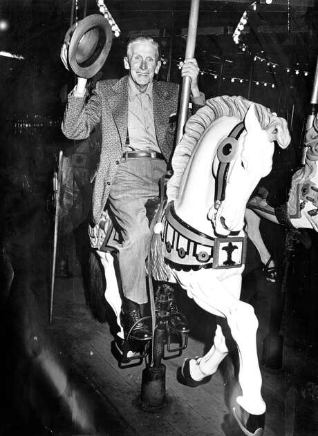 Bill Smit, 74, rides a Playland-at-the-Beach carousel horse one more time on the day before the ride went up for auction. The park closed for good in 1972. Photo: Clem Albers / Clem Albers / The Chronicle 1972 / ONLINE_YES