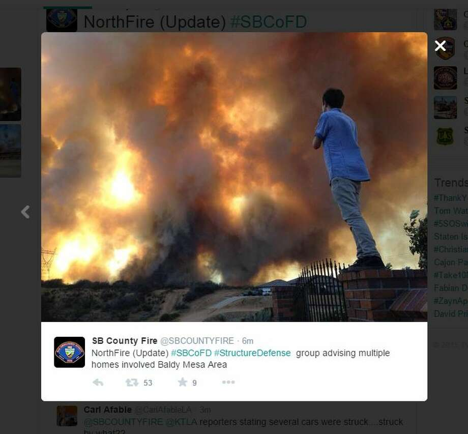 SB County Fire tweeted these photos of the fire that moved across the freeway.