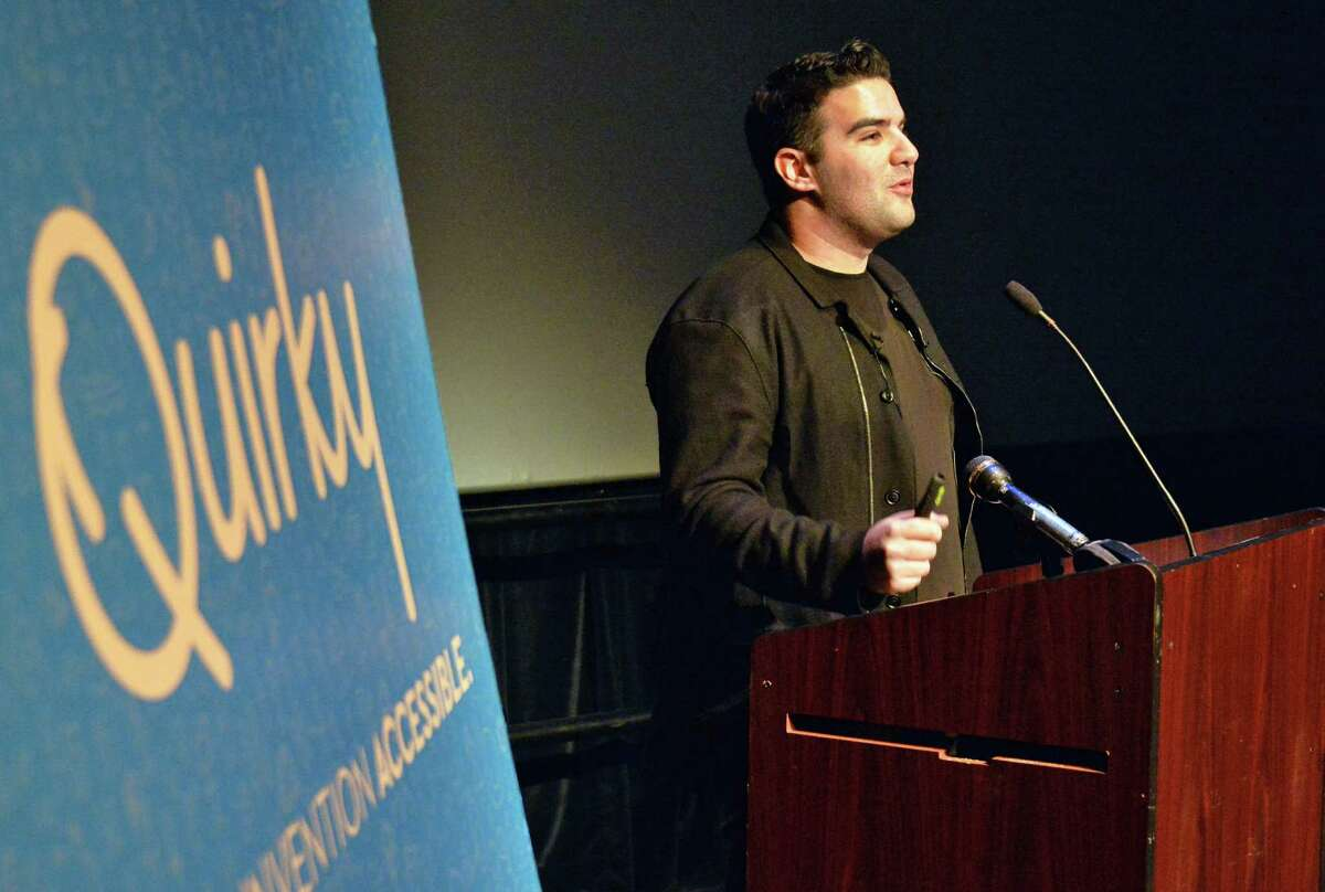 25-year-old entrepreneur Ben Kaufman announces his firm, Quirky, is opening an office in Schenectady Thursday, March 27, 2014, at a news conference at Proctor's in Schenectady, N.Y. They expect to hire 180 people. (John Carl D'Annibale / Times Union)