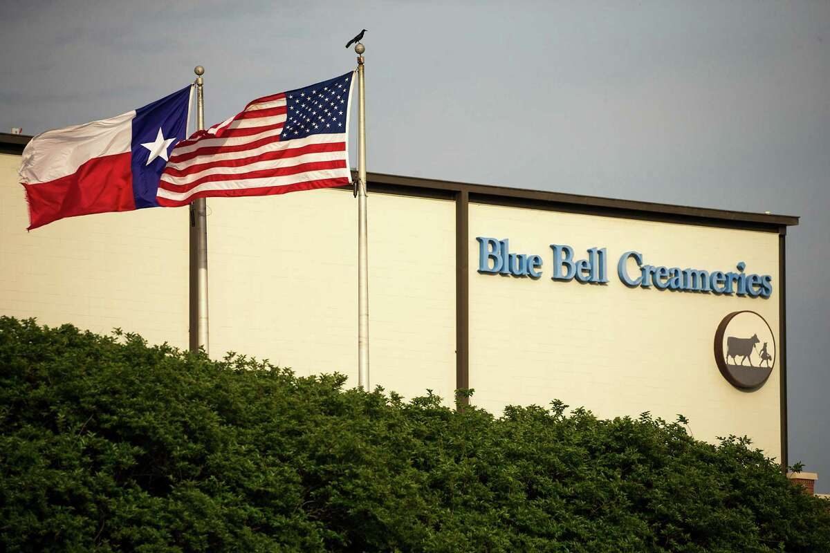 Flags flutter in the breeze outside of Blue Bell Creameries in Brenham, Texas. (Smiley N. Pool/Dallas Morning News/TNS)