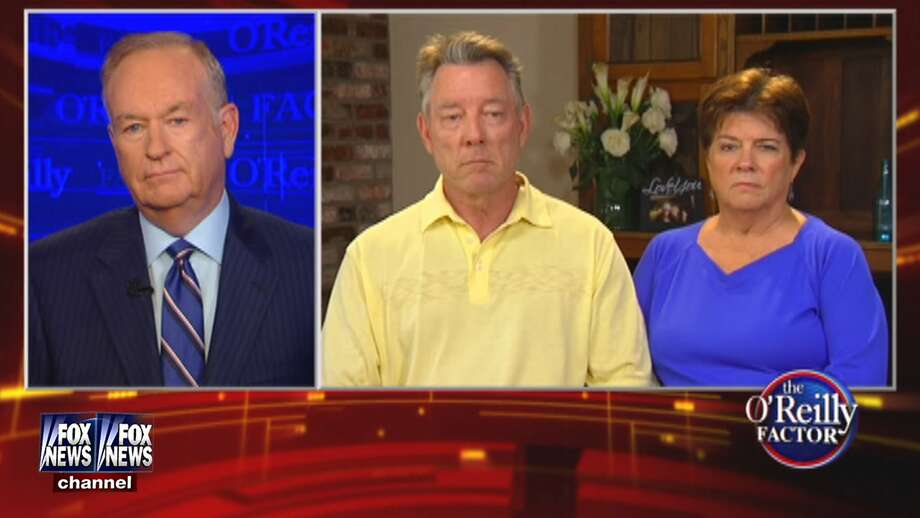 "This image provided by Fox News Channel shows ""The O'Reilly Factor"" host Bill O'Reilly speaking with Jim Steinle and Liz Sullivan, parents of Kathryn Steinle, during an interview Monday, July 13, 2015. Photo: Associated Press"