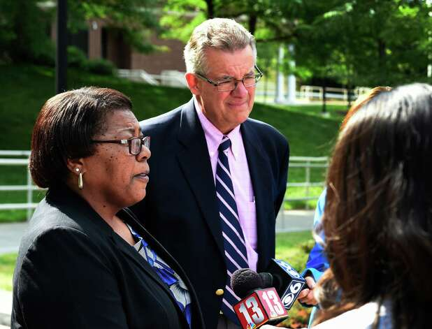 Mary Cheeks, Rivers Casino general manager, left, is joined by Charles Steiner, president of the Capital Region Chambers of Commerce, as she details the reason for the vendor fair that was held Friday, July 17, 2015, at the Schenectady County Community College in Schenectady, N.Y. (Skip Dickstein/Times Union) Photo: SKIP DICKSTEIN / 00032659A