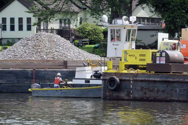Dredging operations on the Hudson River as part of General Electric's PBC abatement from the river bed inn the upper Hudson River on Friday, July 17, 2015, in Mechanicville, N.Y. (Michael P. Farrell/Times Union) Photo: Michael P. Farrell / 00032668A