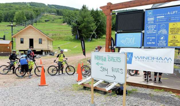 Riders queue up at the ski lift for Windham Mountain Resort's new mountain bike park Friday July 17, 2015 in Windham, NY.  (John Carl D'Annibale / Times Union) Photo: John Carl D'Annibale / 00032665A
