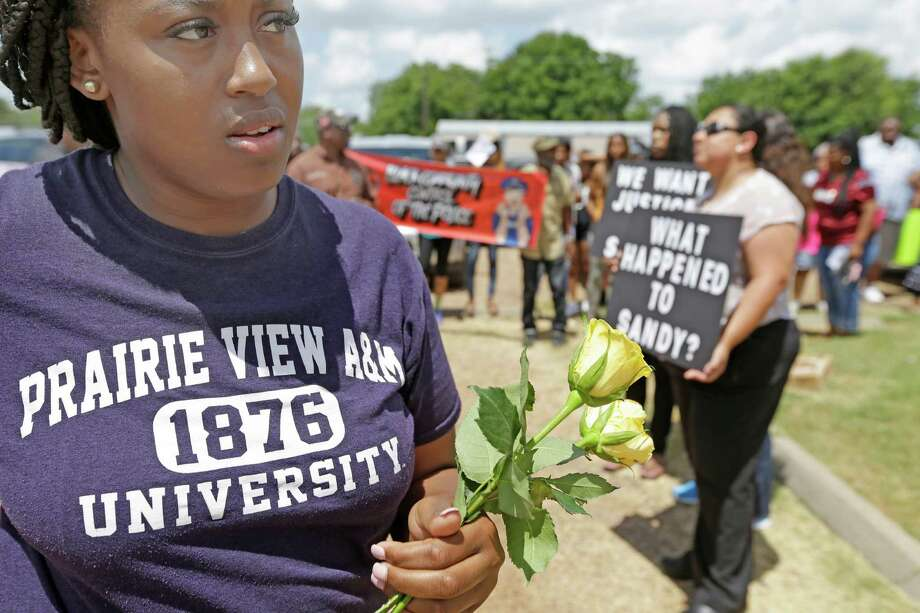 Prairie View A&M senior Toni Mayze waits for a protest march to begin Friday in Hempstead. Photo: Melissa Phillip, Staff / © 2015  Houston Chronicle