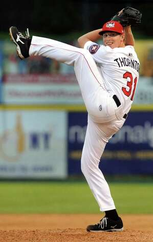 ValleyCats Trent Thornton winds up the pitch during their baseball game against the Lake Monsters on Friday, July 17, 2015, at Joe Bruno Stadium in Troy, N.Y. (Cindy Schultz / Times Union) Photo: Cindy Schultz / 00032629A