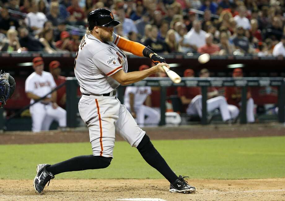San Francisco Giants' Hunter Pence connects for a two-run home run against the Arizona Diamondbacks during the seventh inning of a baseball game Friday, July 17, 2015, in Phoenix. Photo: Ross D. Franklin, Associated Press