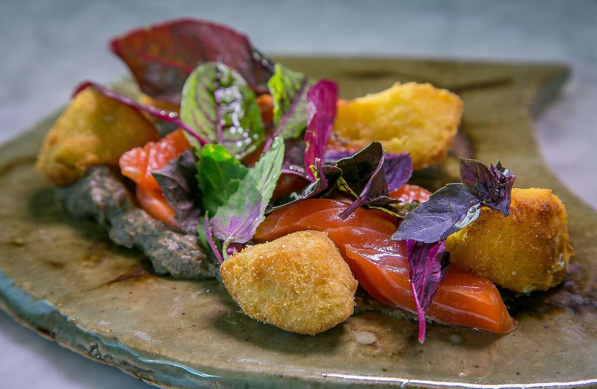 Smoked Salmon with fried Green Tomatoes at Kronnerburger in Oakland, Calif., is seen on July 17th, 2015.