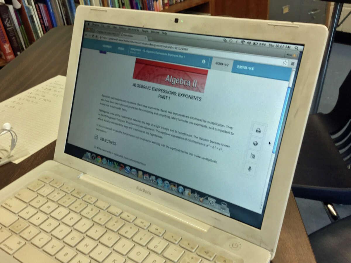 A screenshot of the Algebra II class in Odysseyware that Greenwich High School rising senior Zeik Dume is taking.
