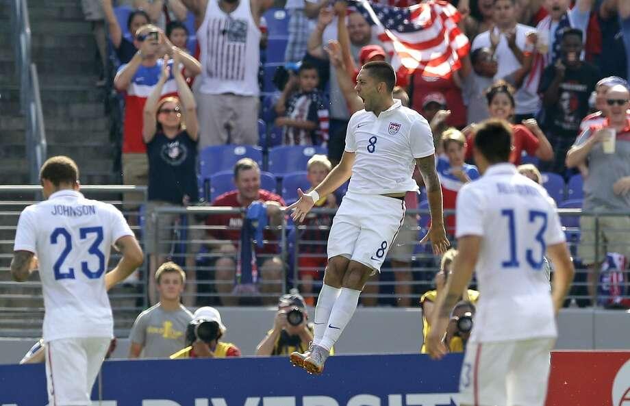 Clint Dempsey (8) hopes to be jumping for joy Saturday against Mexico. Photo: Patrick Semansky, Associated Press