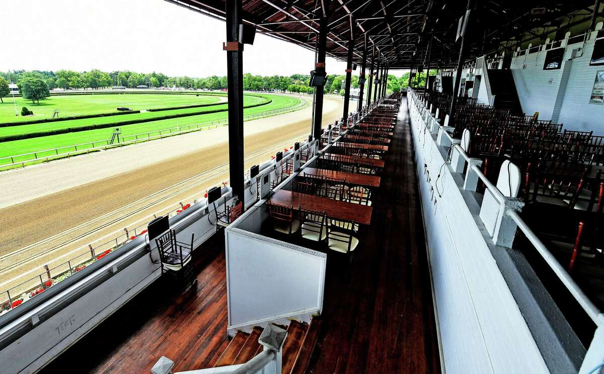 The Turf Terrace of the Saratoga Race Course Wednesday morning July 15, 2015 is ready for opening day next Friday in Saratoga Springs, N.Y. (Skip Dickstein/Times Union)