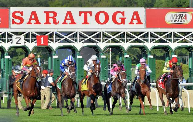The start of the Fourstardave Handicap at Saratoga Race Course Saturday August 9, 2014, in Saratoga Springs, NY.  (John Carl D'Annibale / Times Union) Photo: John Carl D'Annibale / 10028088A