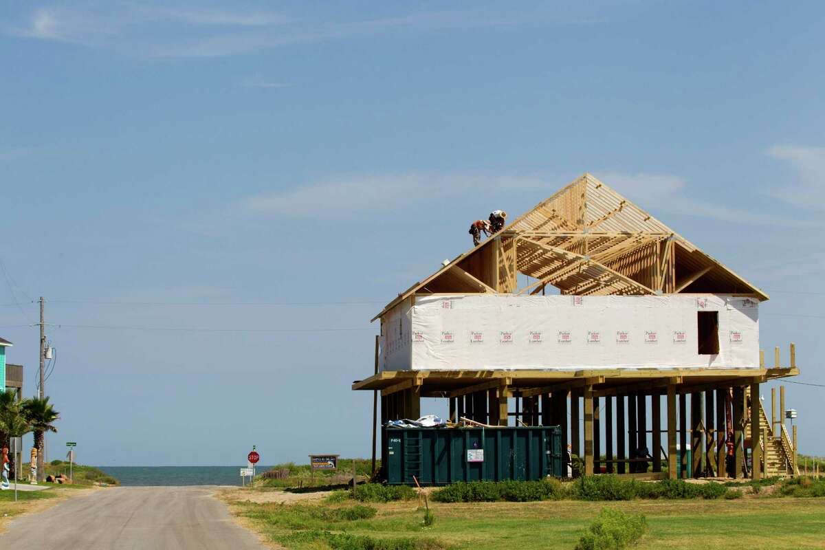 A new beachfront home under construction in 2013. Rebuilding had been an ongoing effort since the hurricane hit in 2008. Click to see the homes that have been built since the devastating storm.
