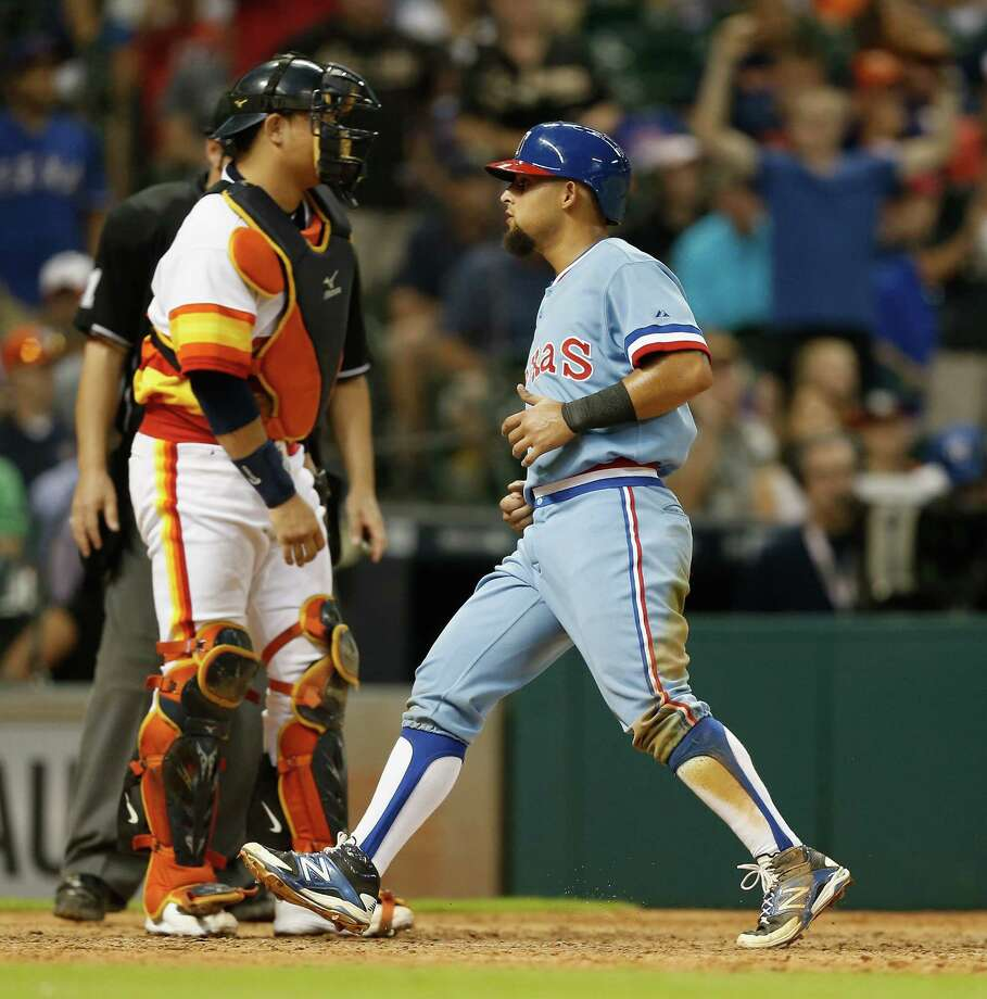 The Rangers' Rougned Odor (right) was at the center of a dust-up between the teams last July.Click through the gallery for a Houston vs. Dallas sports primer. Photo: Bob Levey, Getty Images / 2015 Getty Images