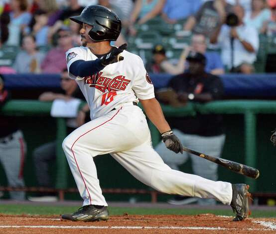 ValleyCats's #10 Edwin Medina doubles against the Aberdeen IronBirds at Joe Bruno Stadium Saturday July 18, 2015 in Troy, NY.  (John Carl D'Annibale / Times Union) Photo: John Carl D'Annibale / 00032630A